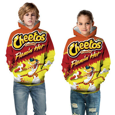 Childrens Kids Girls Boys Unisex Flamin' Hot Cheetos Funny Sweatshirt Hoodie