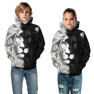 Childrens Kids Girls Boys Unisex Lion Yin and Yang Half-and-Half Sweater Hoodie