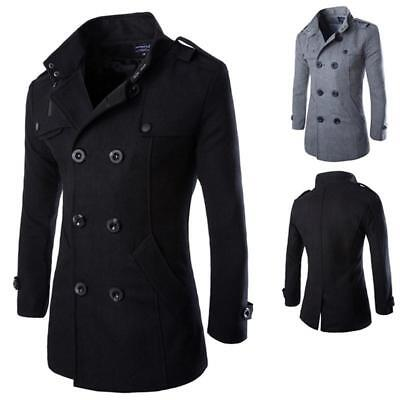 Mens Slim Stylish Trench Coat Winter Double Breasted Overcoat Warm Long Jacket W