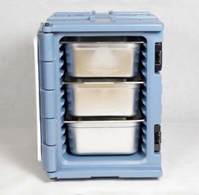 Insulated Food Carrier Outdoor Food Delivery Cabinet  with Three Pan 90L Gray