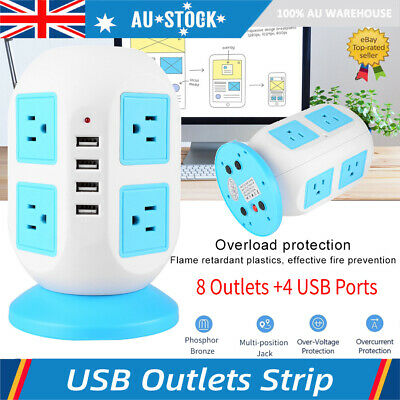 Power Board Strip 4 USB+8 Socket Outlets Extension Cord Charger Charging AU