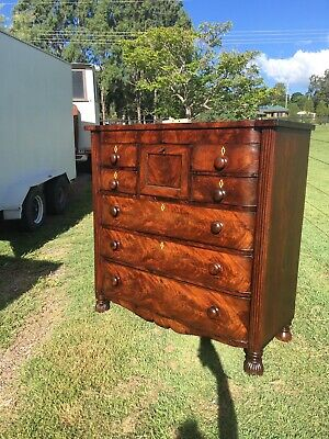 Georgian flame mahogany chest of draws with secret draw circa 1830