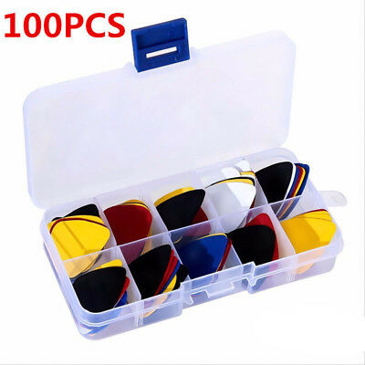 100XGuitar Picks Plectrums With Case For Acoustic Ukulele Electric Guitar N7Z