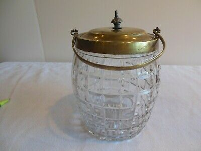Antique Attractive Cut Glass,Brass Lid&Handle  Biscuit Barrel Cookie Jar
