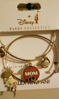 "Disney Parks Alex And Ani Incredibles ""INCREDIBLE MOM"" Mom GOLD Bangle SET"