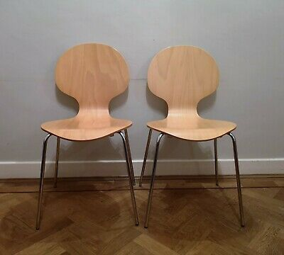 2 Vintage Mid Century Modern Stacking Bentwood Chairs Chrome Arne Jacobsen Style