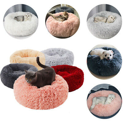 Flufy Donut Pet Dog Cat Calming Bed Winter Plush Dog Bed for Small Medium Dogs