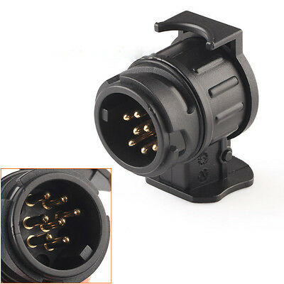 Car Trailer Truck 13 Pin to 7 Pin Plug Adapter Converter Tow Bar Socket Black✓@s