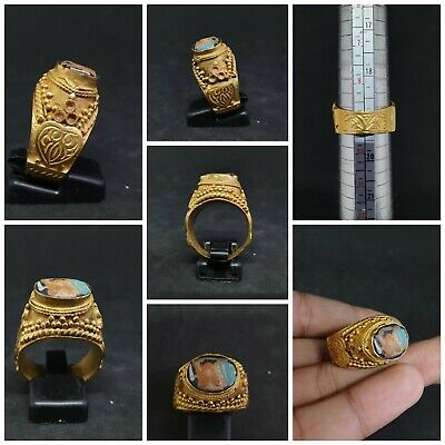 Wonderful and Unique Gold Gilded Vintage Ring With Lovely Old Mosaic Glass #D1