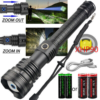 Powerful 900000Lumens XHP LED Zoomable Flashlight USB Rechargeable Torch 26650