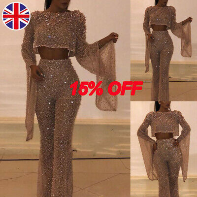 Women Glitter Sequin Backless Jumpsuit Ladies Sexy Evening Party Wide Leg Pants