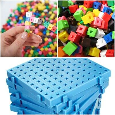 1cm x 100 Interlocking Cubes &  2 x  CentiFit Baseboards Home Learning