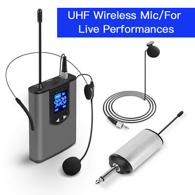 Portable Wireless Headset Microphone UHF 3.5mm to 6.35mm adapter For Live Events