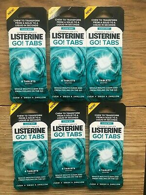 Listerine Go Tabs Whole Mouth Clean Sugar Free 48 Tablets Exp 06/2022 *Bargain*