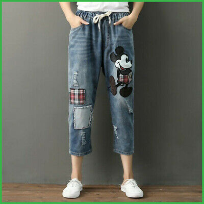 Mickey Mouse Vintage Jeans Pants Woman Ripped Jeans Girls Fashion Patch Clothing