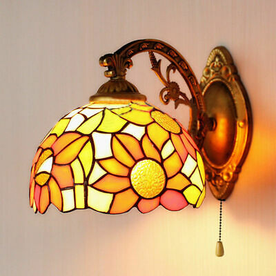Tiffany Style Stained Glass Wall Sconce Wall Lamp Indoor Light Sunflower Pattern