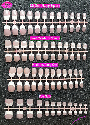 24x French Mainicure Full Cover Glue On Square Oval False Nails Toe Nails - UK