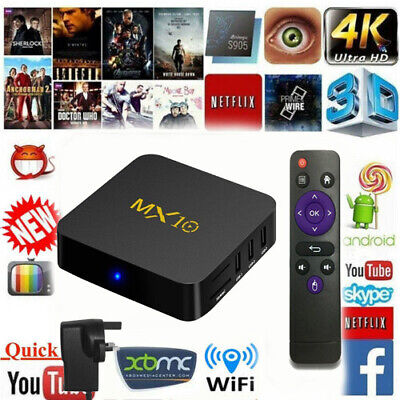 MXQ Pro 4K Ultra HD 3D 64Bit Wifi Android 8.1 Quad Core Smart TV Box 4GB+32B UK