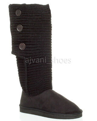 Girls Childrens Kids Knitted Calf Pull On Slouch Casual Button Boots Size