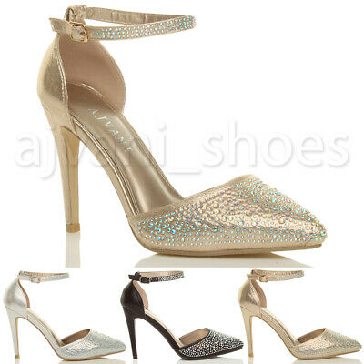 Womens Ladies High Heel Pointed Ankle Strap Diamante Court Shoes Sandals Size