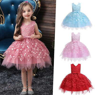 Toddler Baby Kids Girls Ruffles Tulle Dress Flowers Party Dress Princess Dresses