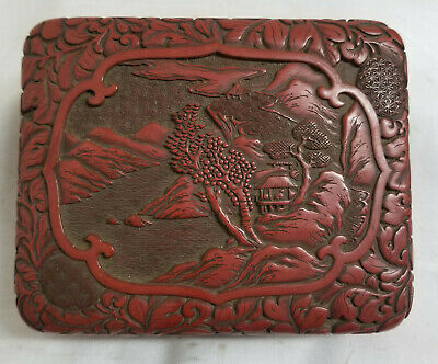Antique Chinese Japanese Cinnabar Lacquer Box Landscape Decoration