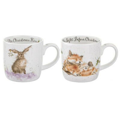 Royal Worcester Wrendale Set of 2 Christmas Mugs (Night Before Christmas & Kiss)