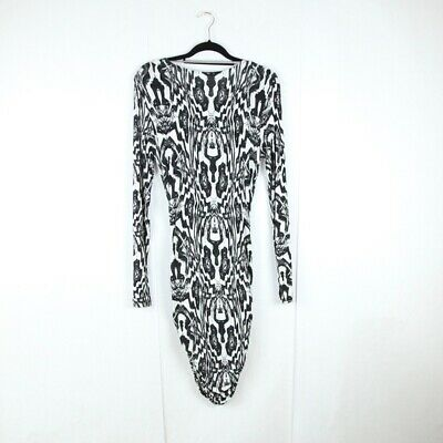 Tiger of Sweden Dress Size L Black & White Print Pattern Long Sleeve Bodycon
