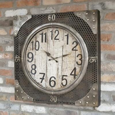 Large Industrial Factory Urban Wall Clock Rustic Metal Mesh design 70 cm Square