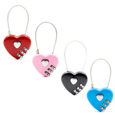 Password Locks Wire Rope Resettable Combination Digital Padlock Travel Bag Heart