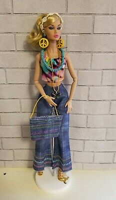 Handmade Barbie Hippie style outfit, tote bag, jewelry