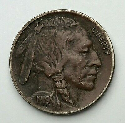 Dated : 1919 - American - Buffalo Nickel - 5 Cents Coin - America - USA
