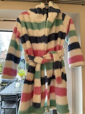 Girls Fat Face Fluffy Striped Dressing Gown Size 6-7