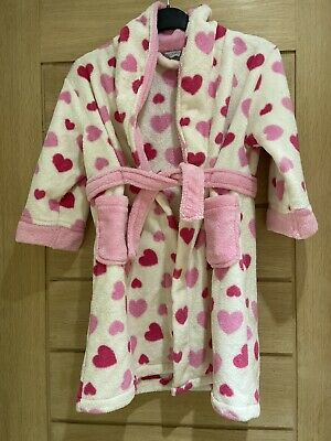 Girls Pink Spot Fluffy Dressing Gown Age 4-5