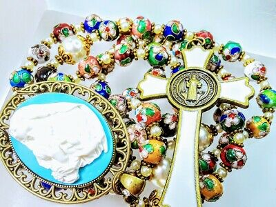 Beautiful Antiqued Cloisonne Bead Pearl Catholic Turquoise Blue Cameo Rosary