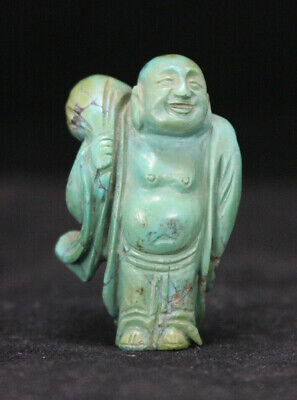 Vintage Chinese Hand Carved Turquoise Laughing Buddha Figurine