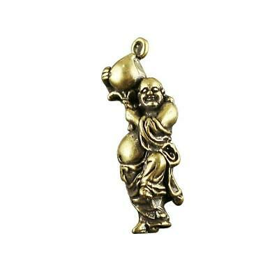 Chinese antique pure brass carved smile Buddha statue blessing Necklace pendant