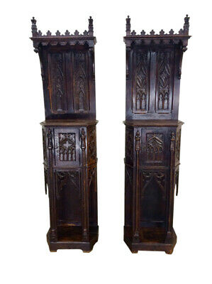 Sensational Matching Pair Gothic Cabinets, 19th Century, Medieval, Narrow, Oak