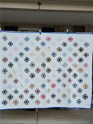 (263) Lovely Vintage Quilt OHIO STAR Hand-Stitched