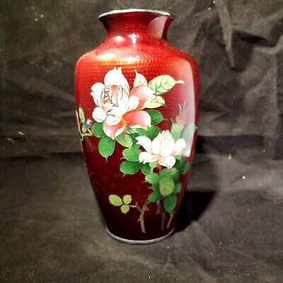 Japanese Silver CLOISONNE Ox Pigeon Blood Red VASE ROSES FLOWERS BIRD BAMBOO 50s