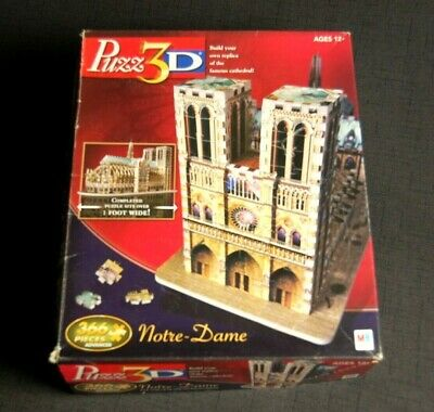 Notre Dame Cathedral Paris France 3D Jigsaw Puzzle PUZZ3D Used