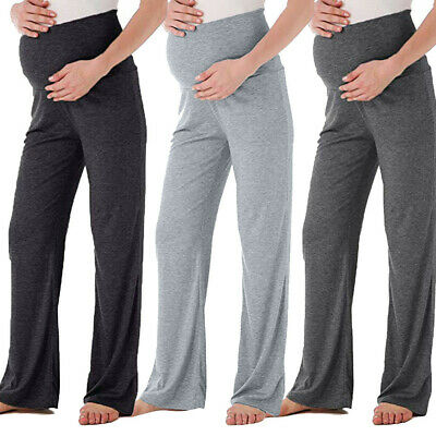 Womens Summer Mom Maternity Wide Leg Straight Pants High Waist Pregnancy Trouser