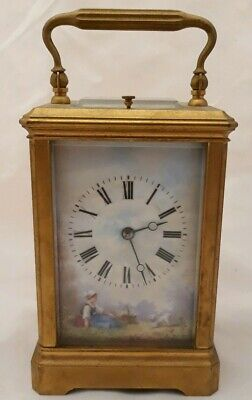 Antique FRENCH Miniature Brass Carriage Clock Porcelain Panels