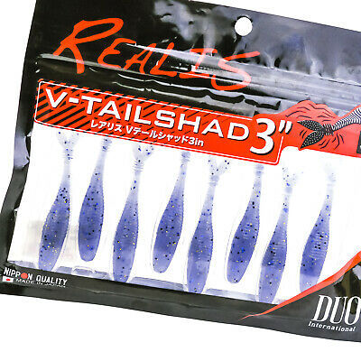 "DUO Realis V-Tail Shad 3/"" Soft Plastics Clear Red Pepper F003 Pack of 8"