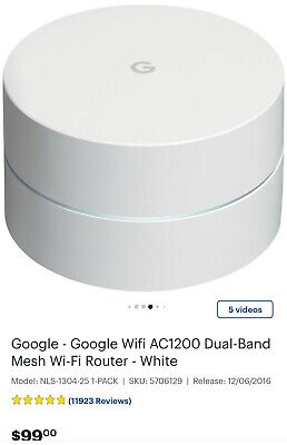 Google WiFi AC1200 Dual-band Mesh Wi-fi Router - White THIS IS FOR ONE POINT