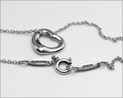 """Authentic TIFFANY & CO ® Elsa Peretti 925 Spain Sterling Heart Necklace - Sz 16"""""""