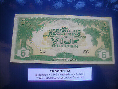 indonesia 5 guilden 1942 wwii japanese occupation currency note av circ