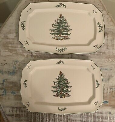"Spode Christmas Tree  Serving Plate Set England S3324 Large 15 1/4""-13 1/4"""