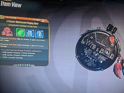 """3 x Raging Bear Set"" *New Moze Maliwan Takedown Class Mod* Borderlands 3 (PS4)"