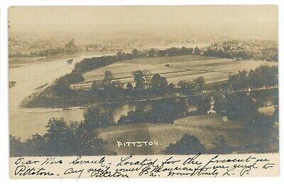 RPPC Coal Mining Aerial of PITTSTON PA Luzerne County Real Photo Postcard 1